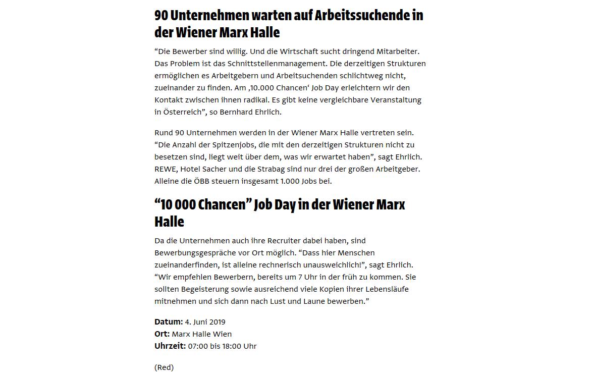 Vienna.at vom 27.5.2019  https://www.vienna.at/10-000-chancen-der-job-day-in-der-wiener-marx-halle/6230272/amp