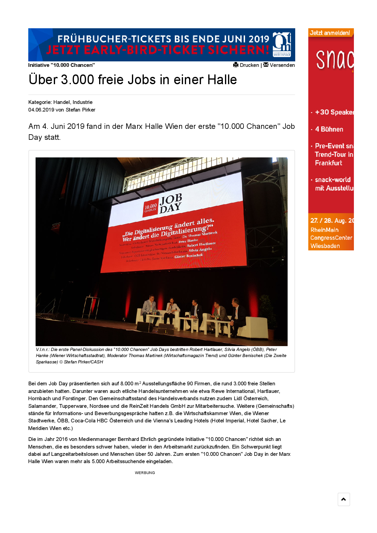 CASH Das Handelsmagazin vom 4.6.2019   https://www.cash.at/archiv/ueber-3000-freie-jobs-in-einer-halle/
