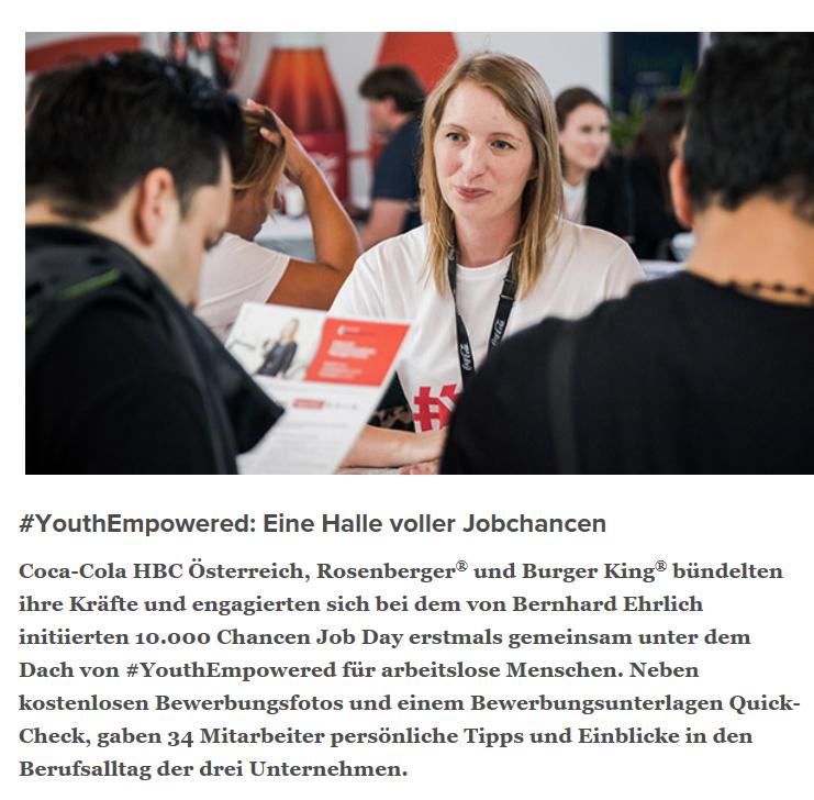 7.6.2019 Weiter mit  https://www.coca-cola-oesterreich.at/stories/10000-chancen-job-day-youthempowered