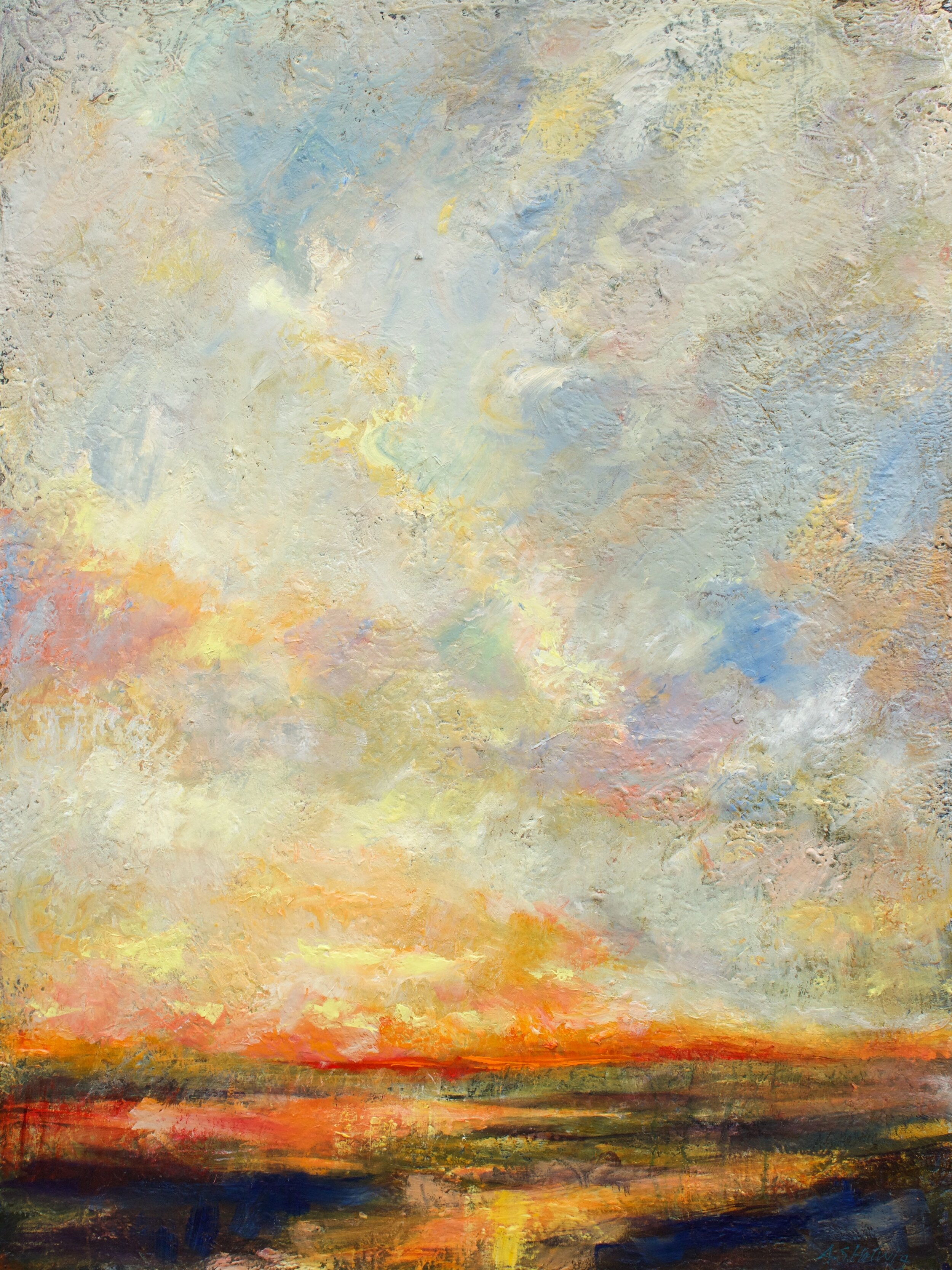 You learned to paint fast.  You needed to chase  the skein of clouds  that sighed and sprawled  over the plains.      We Will Rise Again  48 x 36 inches  Painted on collaged canvas  $3300 +GST  This painting is available
