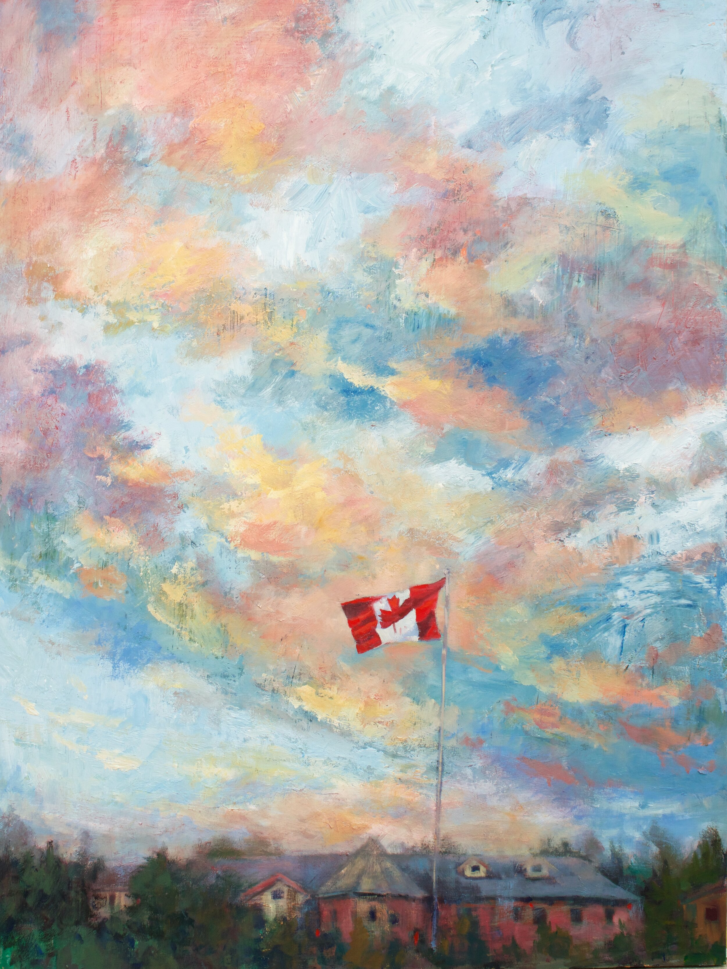 You are the sky,  your green eyes  hemmed with years  of coulees and creeks  and old prairie towns  with the most optimistic names,  tousled and dusty  with the endless secrets of the wind.      Under Canadian Skies  48 x 36 inches  Painted on Cradled Wood Panel  $3300+GST  This painting is available