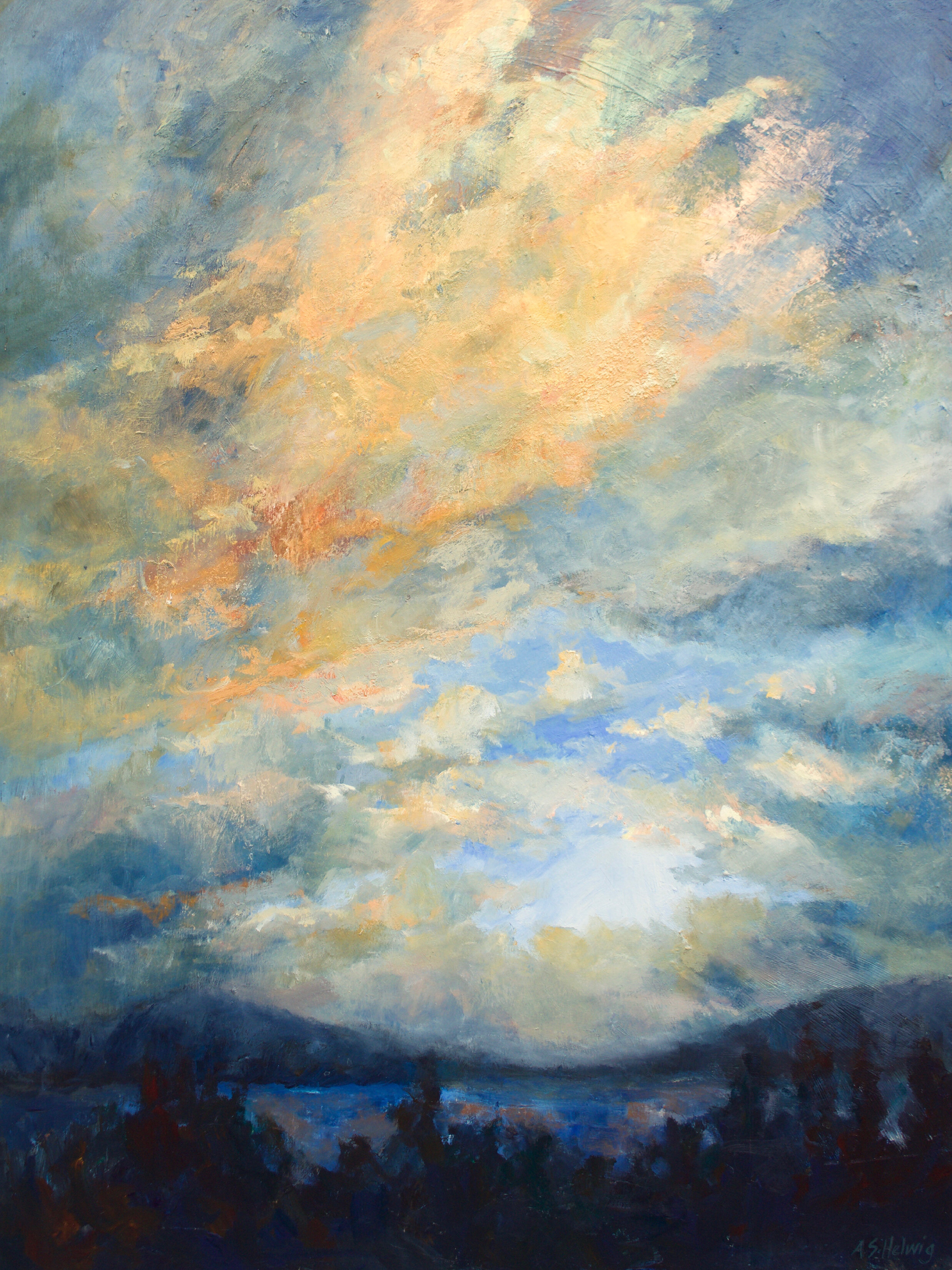 Hints and secrets  are tossed into the air:  how to capture the sky,  how to render the stretch,  the fish-eyed views,  the mountain-hummed horizon,  the clouds that zenith  over foothills  anchored by low flights  of magpie and jay.    The New Dawn  48 x36 inches  Painted on Cradled Wood Panel  $3300 +GST  This painting is available