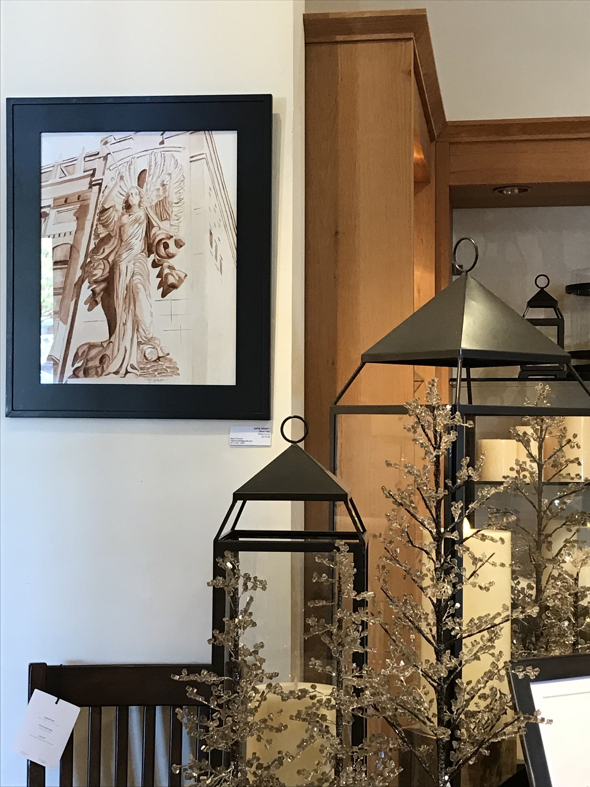 Date Night  (Bass Hall angel, watercolor) hanging at the Pottery Barn, Ft Worth, November 2017. Guest Artist.