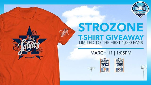Tomorrow, March 11th the New York Mets take on @astrosbaseball at 1:05pm!  Be sure to get here early to receive a Strozone T-Shirt! *Limited to the first 1,000 fans in attendance!* #FITTEAMBallpark #ItStartsHere #Astros