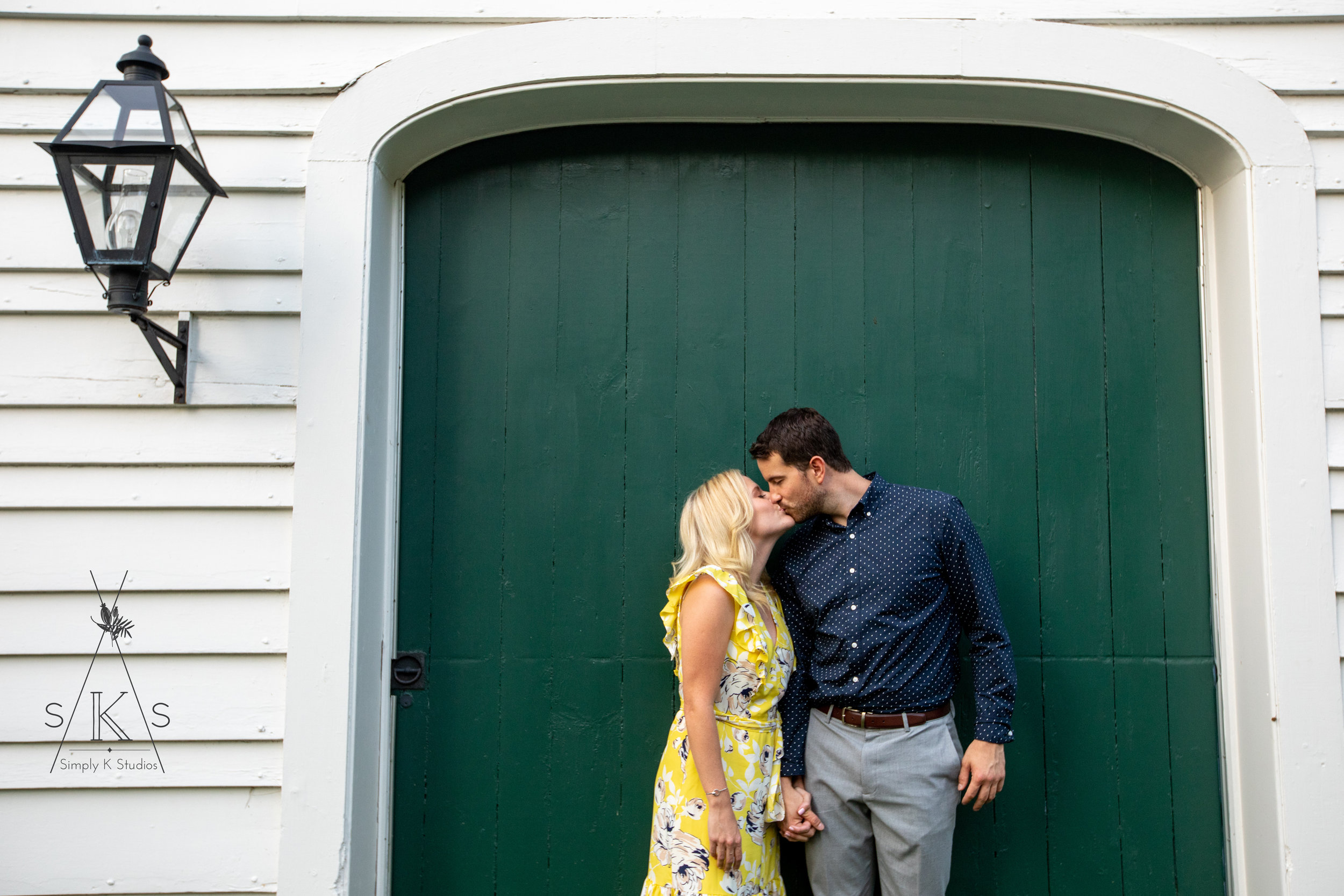 Couple in a garage door
