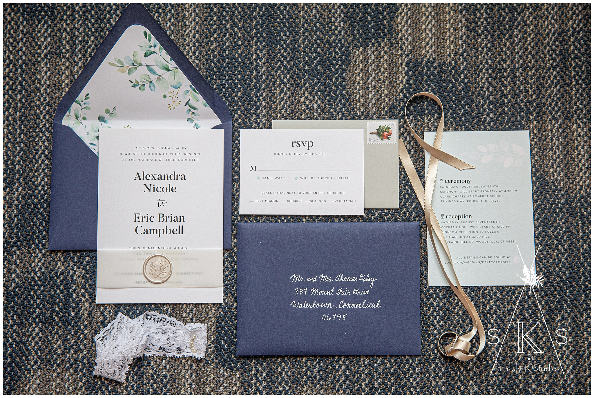 Alex Daley Designs custom wedding invitations CT