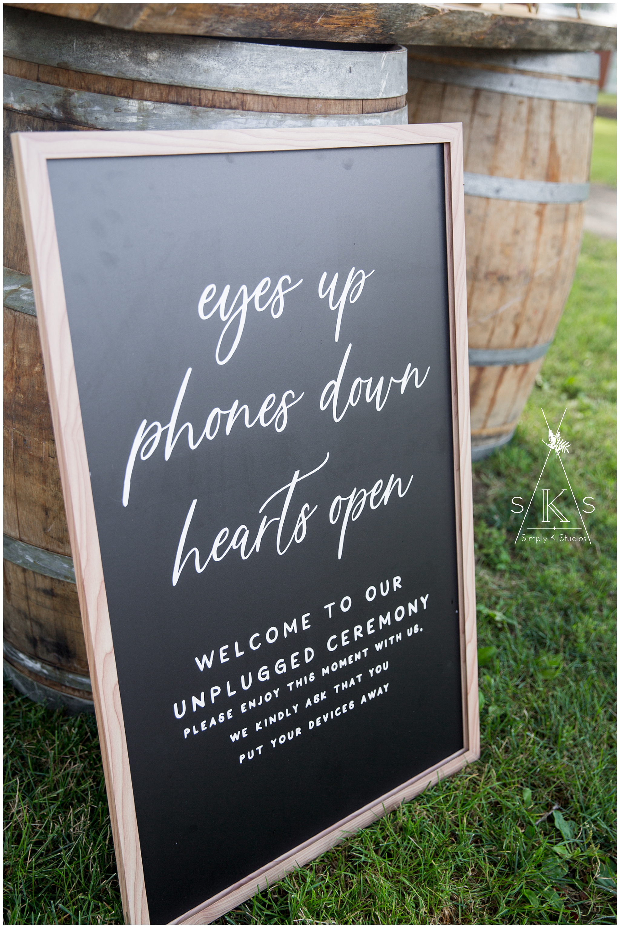Unplugged ceremony sign by Alex Daley Designs