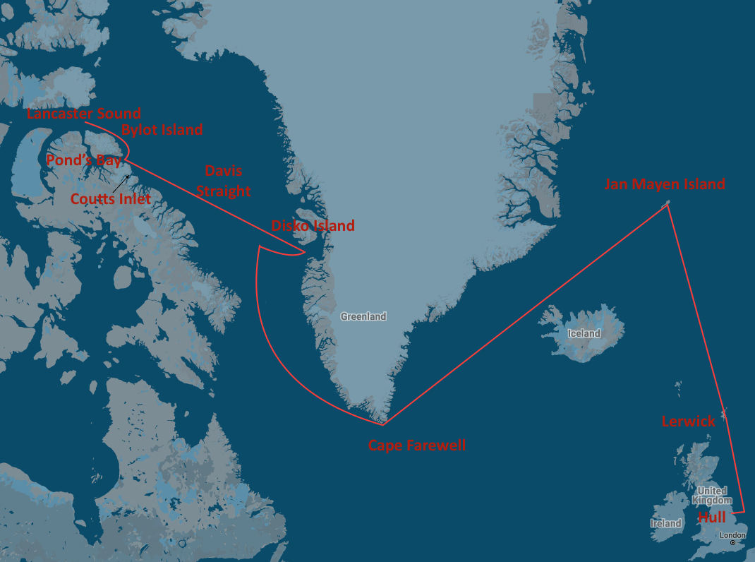 The North Water  main journey: Hull - out the Humber to Lerwick - north to Jan Mayen Island - around Cape Farewell into the Davis Straight - waters off Disko Island - past Cape Horsburgh to Pond's Bay - into Lancaster Sound - back past Bylot Island into Pond's Bay and down to Coutts Island - back to Hull.