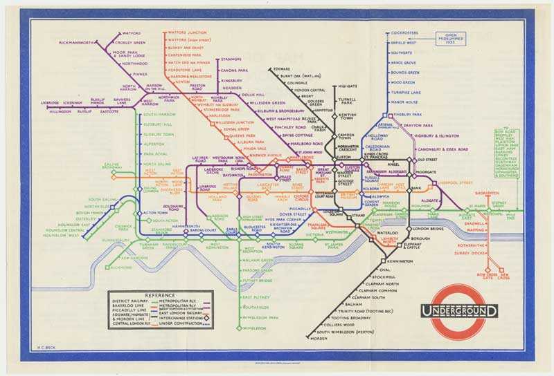 Henry C. Beck, Map of London's Underground Railways - available at Altea Gallery, London