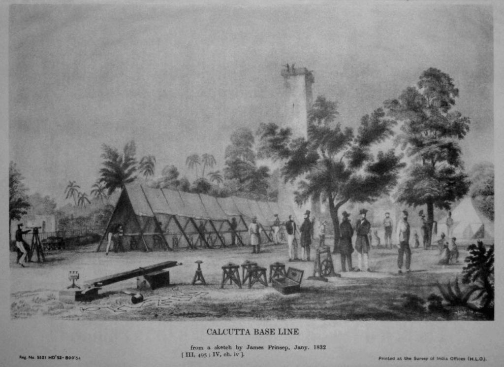 Great Trigonometrical Survey measurement of the Calcutta baseline in 1832 by George Everest; an engraving based on a sketch by James Prinsep. It shows a Ramsden chain being set on coffers supported by pickets.