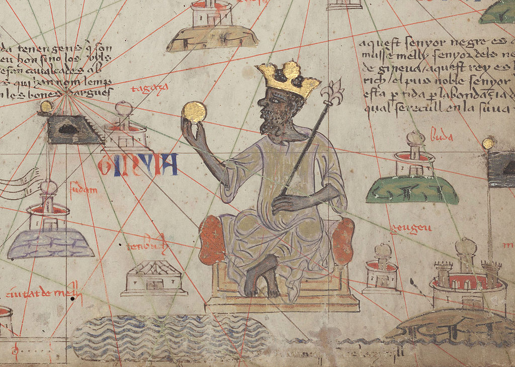 Mansa Musa depicted holding a gold coin from the 1375 Catalan Atlas.