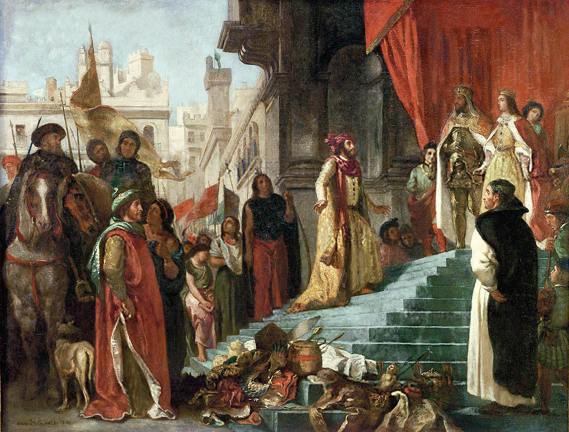 The return of Christopher Columbus; his audience before King Ferdinand and Queen Isabella , painting by Eugène Delcroix.