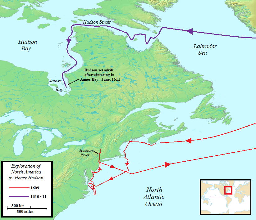 Map of Hudson's voyages to North America