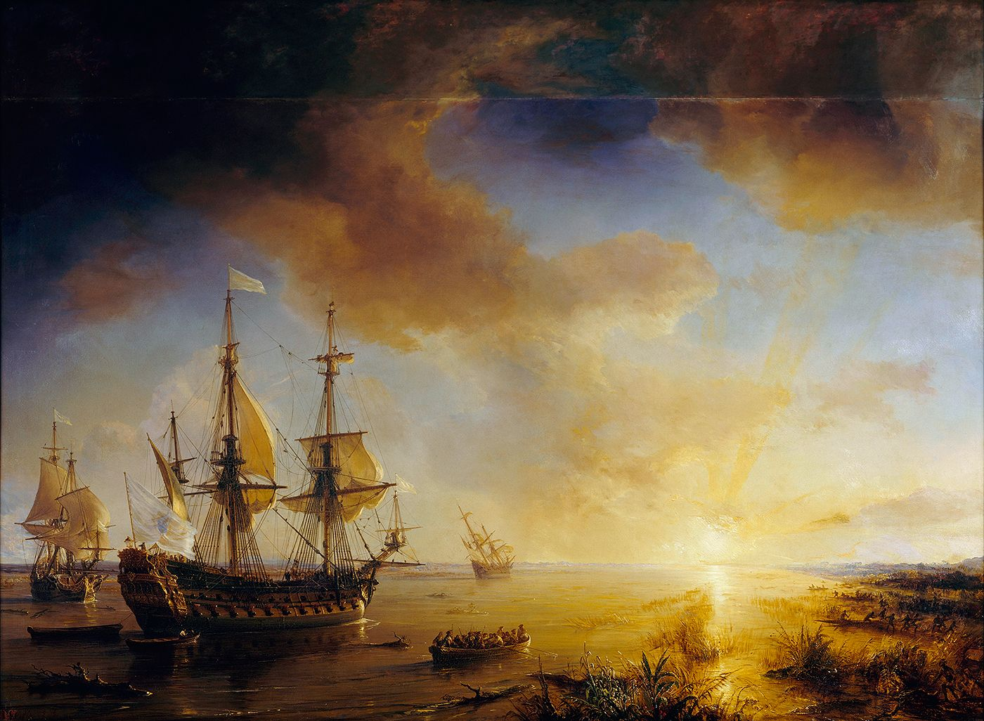 Painting by Gudin titled  La Salle's Expedition to Louisiana in 1684;  they are at the entrance to Matagorda Bay.