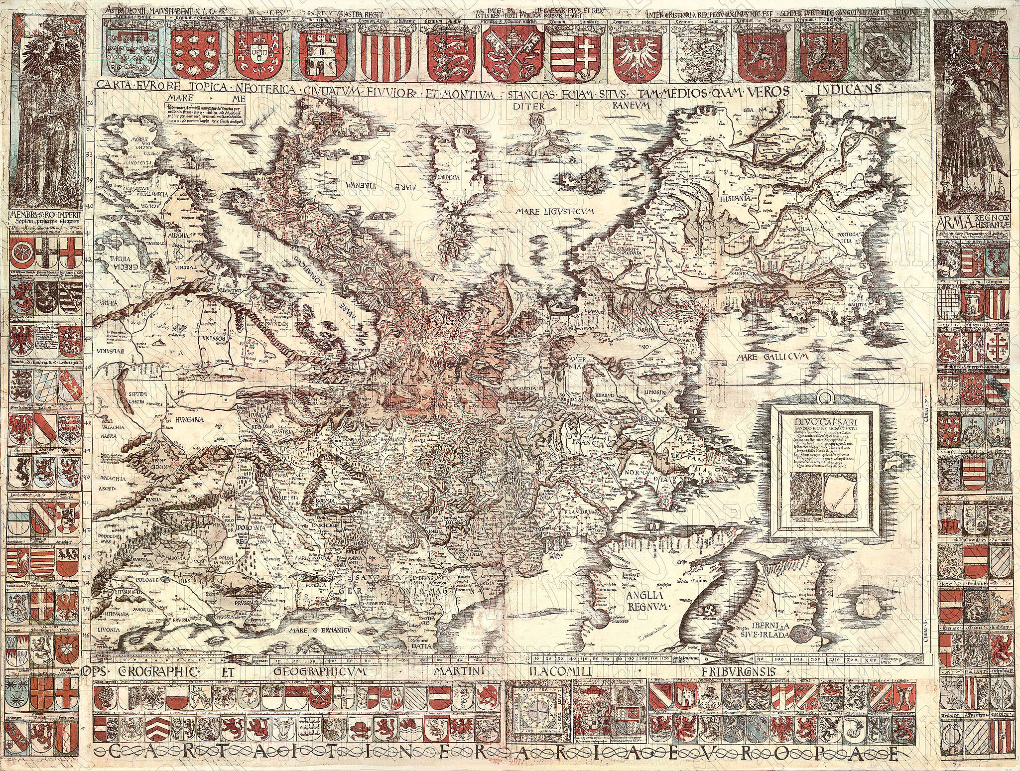 Map of Europe drawn by Martin Waldseemüller, dedicated to Charles V (Emperor of the Holy Roman Empire 1519–1556).