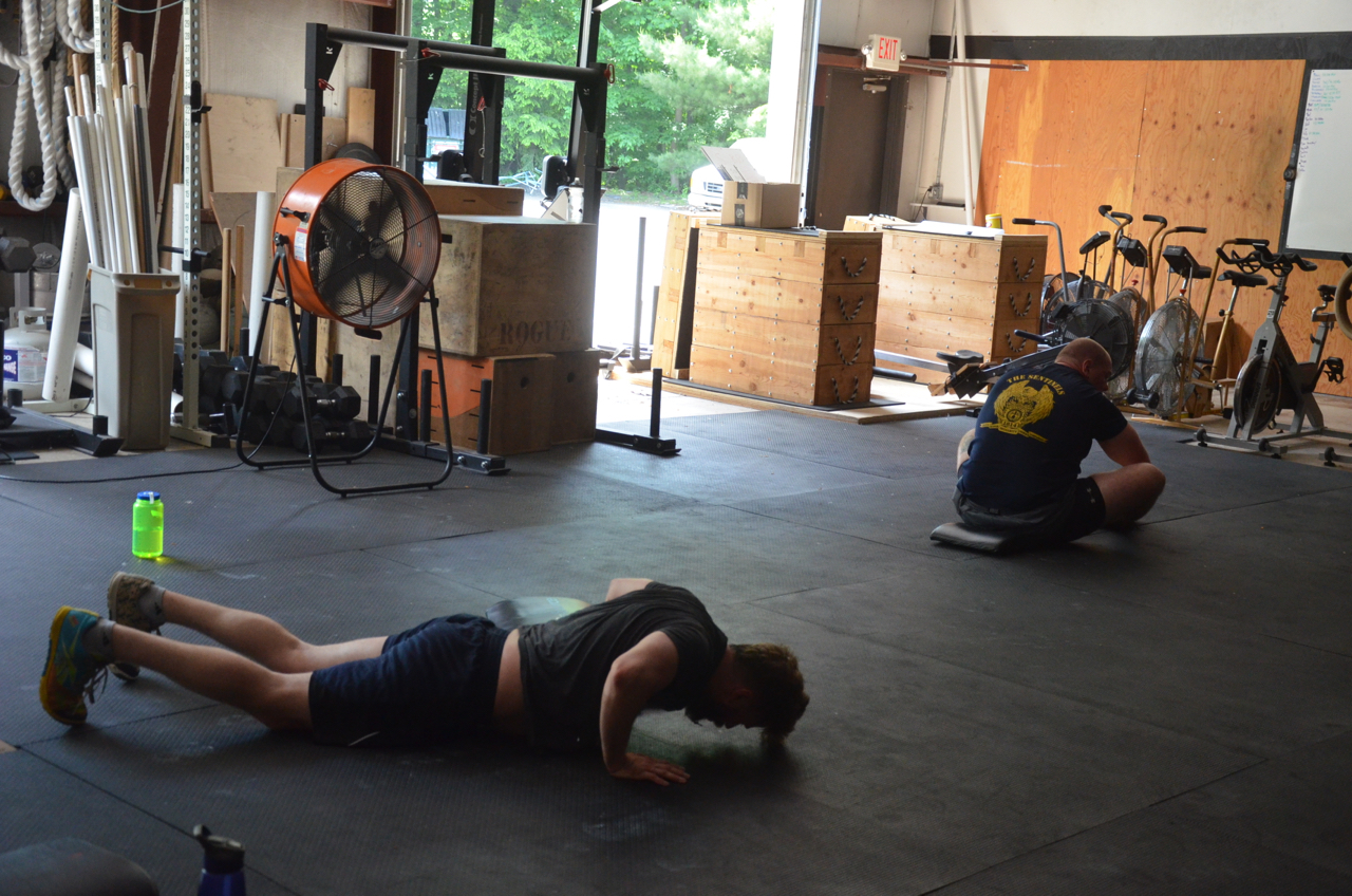 Pauly finishing up his final burpees.