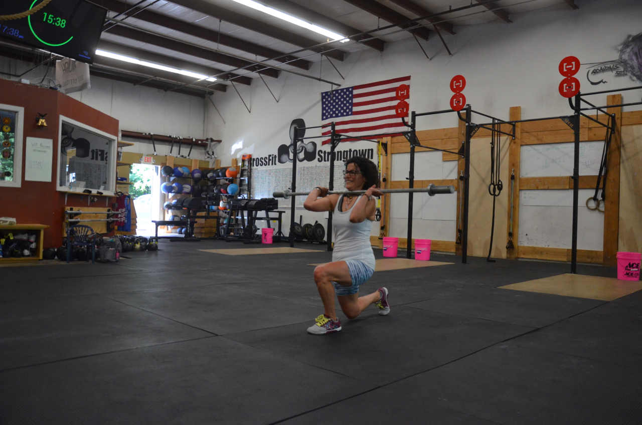 Lauren showing good form through her lunges.