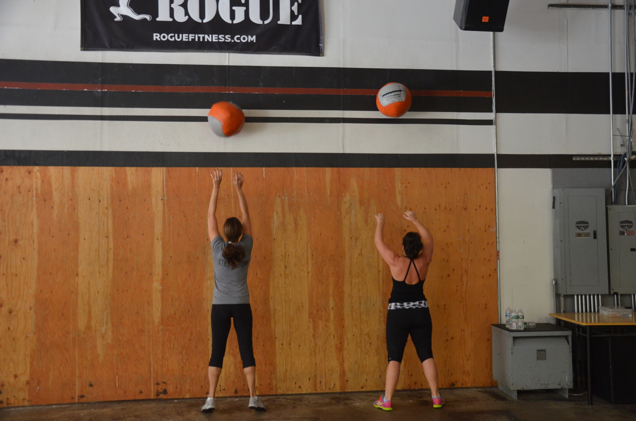 Sharon (welcome back!) and Kristin during their wall-ball.