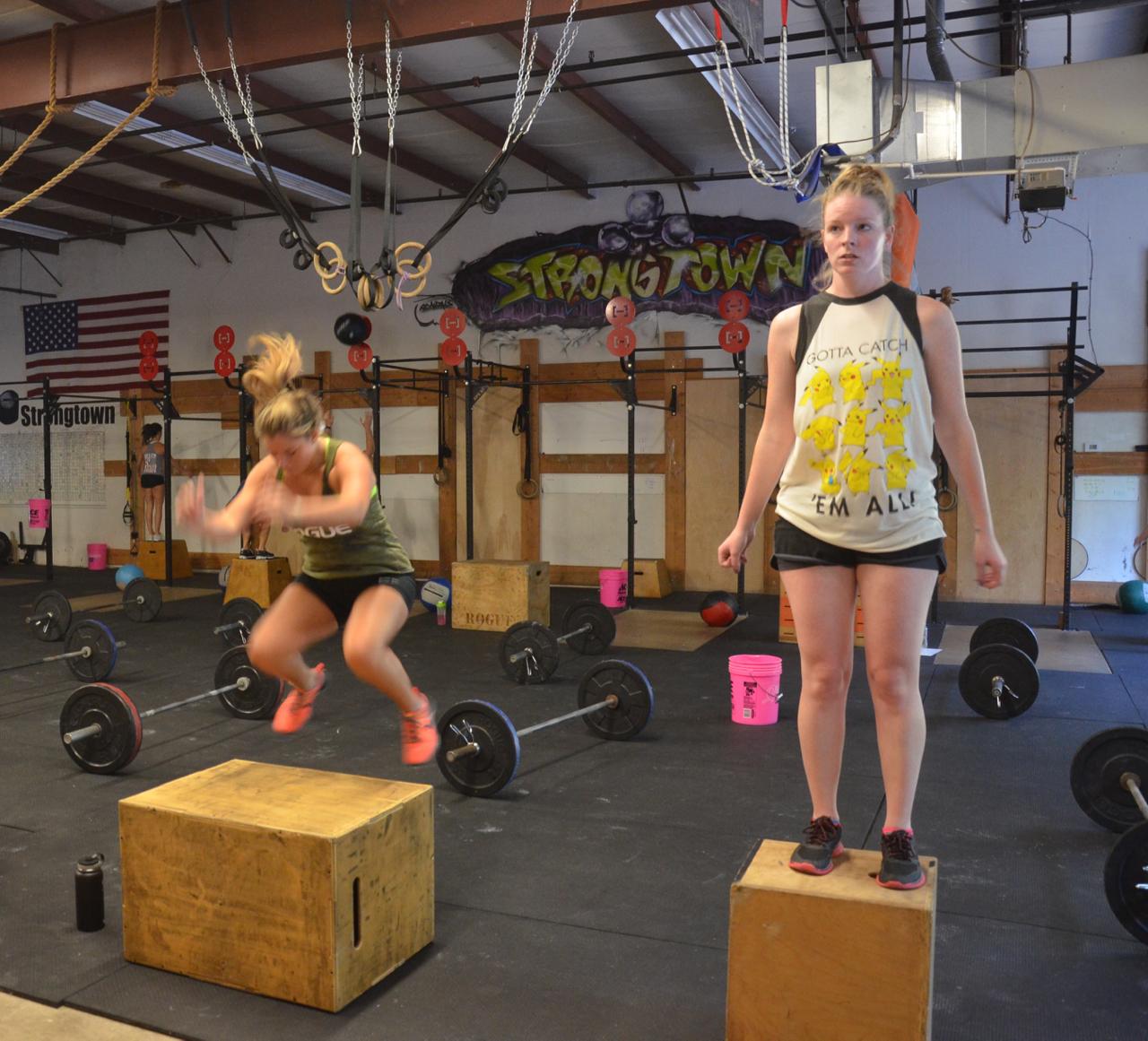 The Maeve & Steph during their box jump / step-ups.