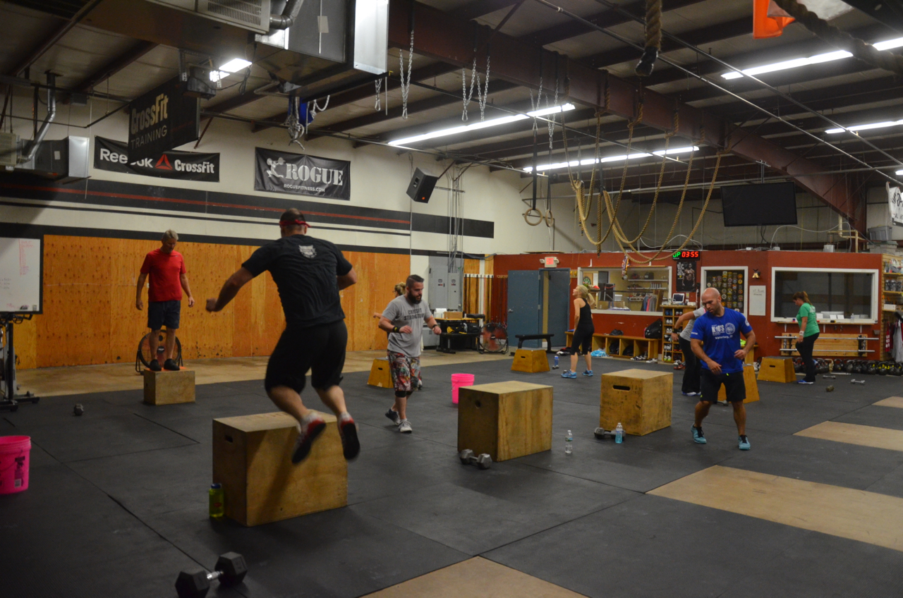 Jimmy and the 6pm class during their box-jump overs.
