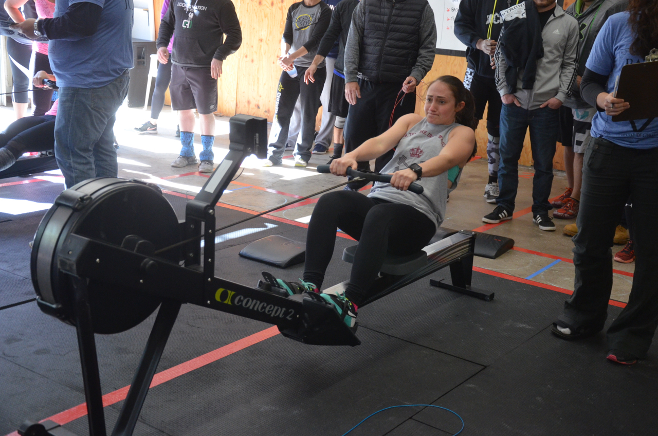 Justina pulling hard through her row.