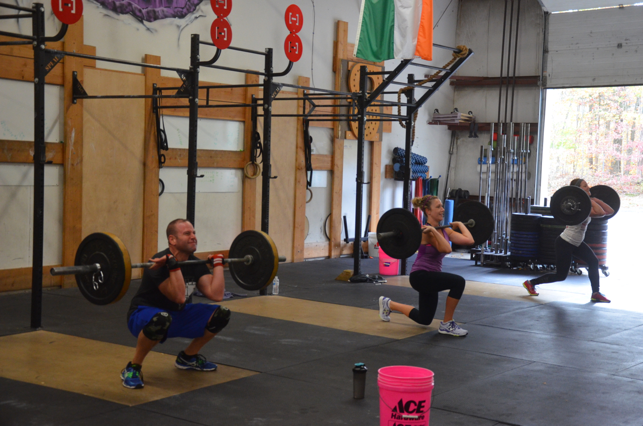Team Unicorn (minus 1) taking on Saturday's Hang Squat Clean / Lunge / Shoulder to Overhead AMRAP.