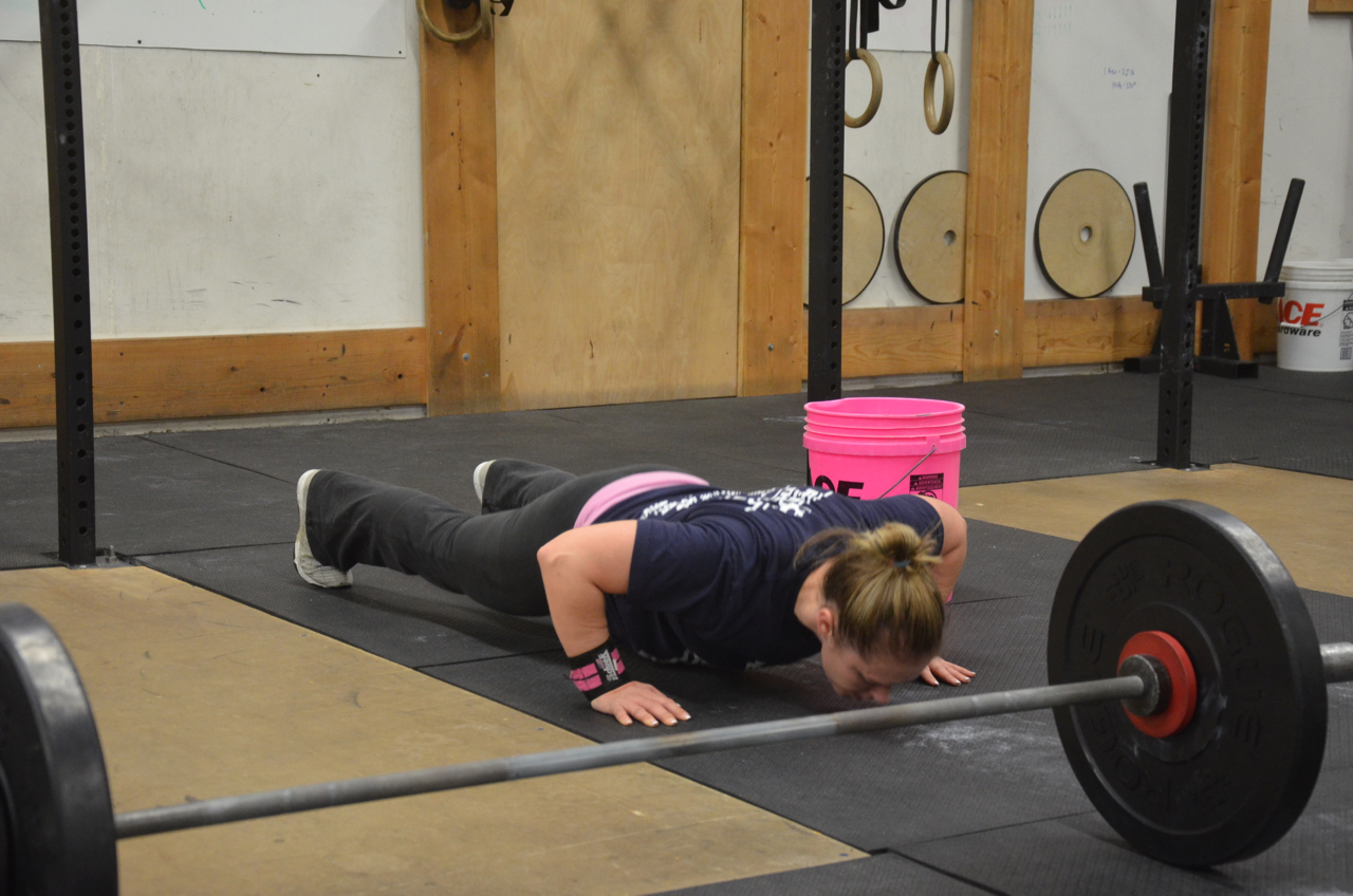 Courtney looking strong on her push-ups.