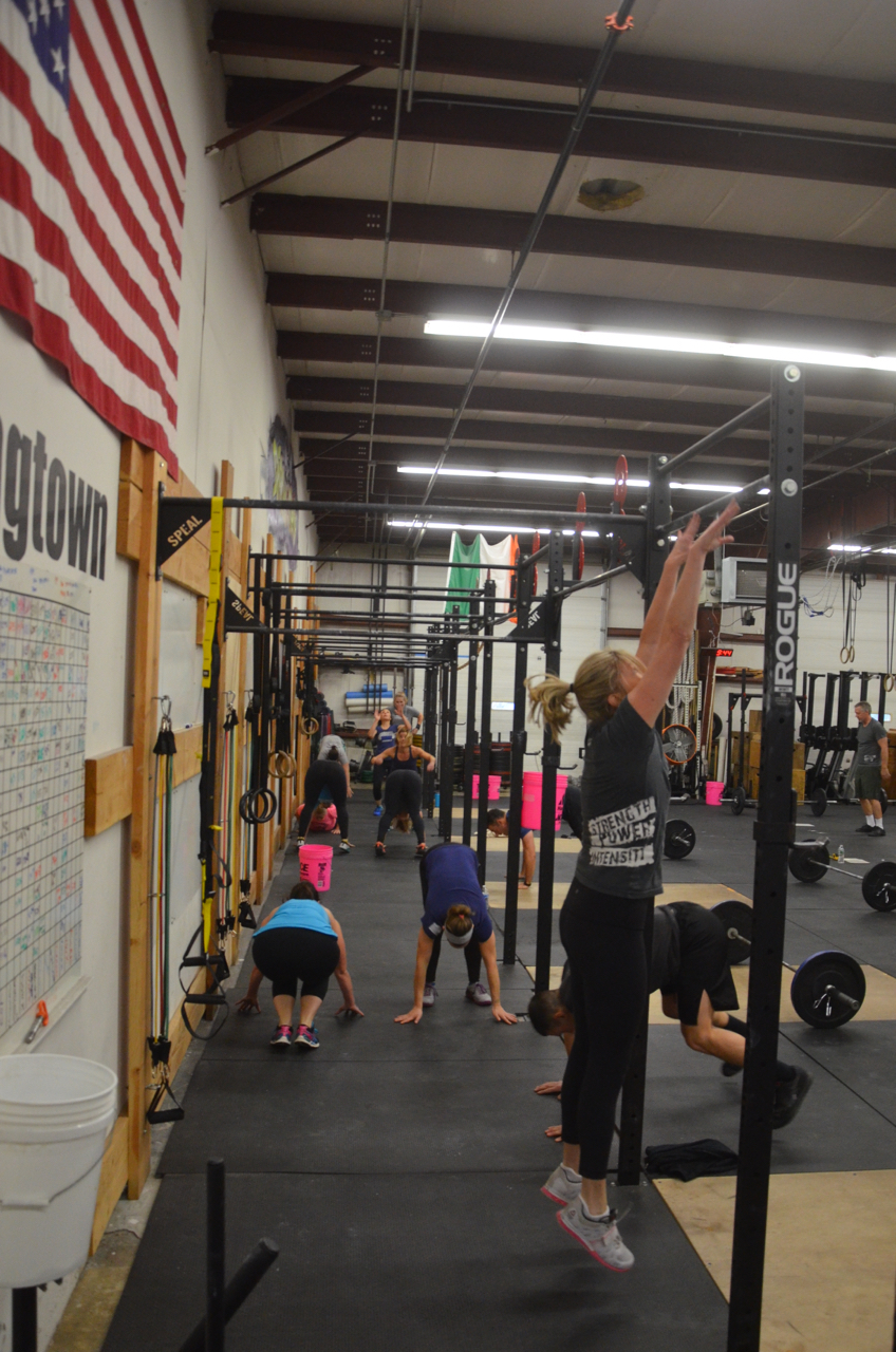 Hope and the 9:30 class during their 7 minutes of burpees.