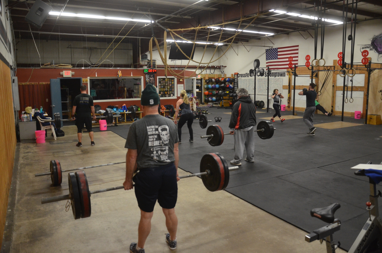 The 6am class working through their minutes of deadlifts.