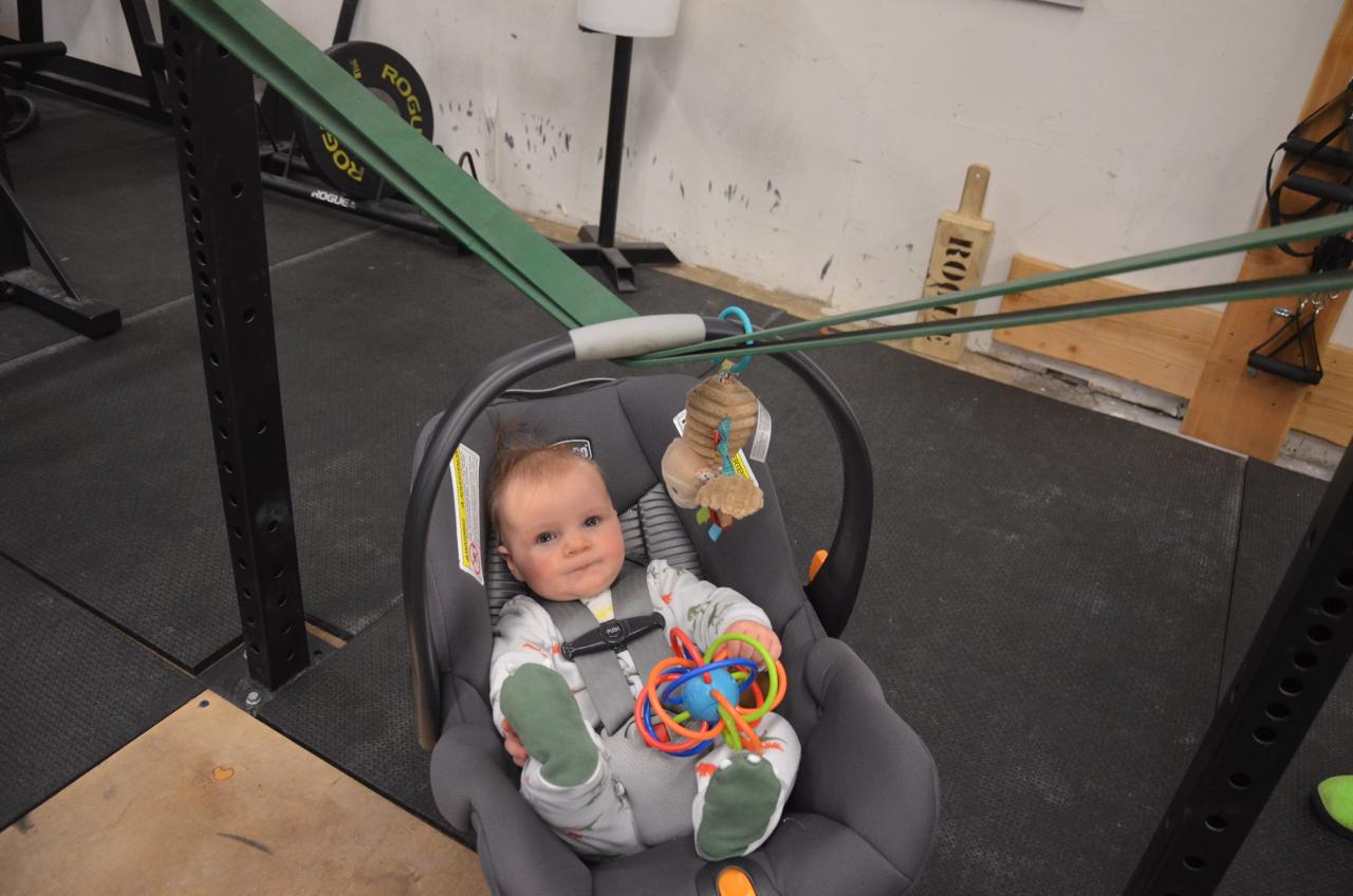 Finn enjoying his time in the squat rack.