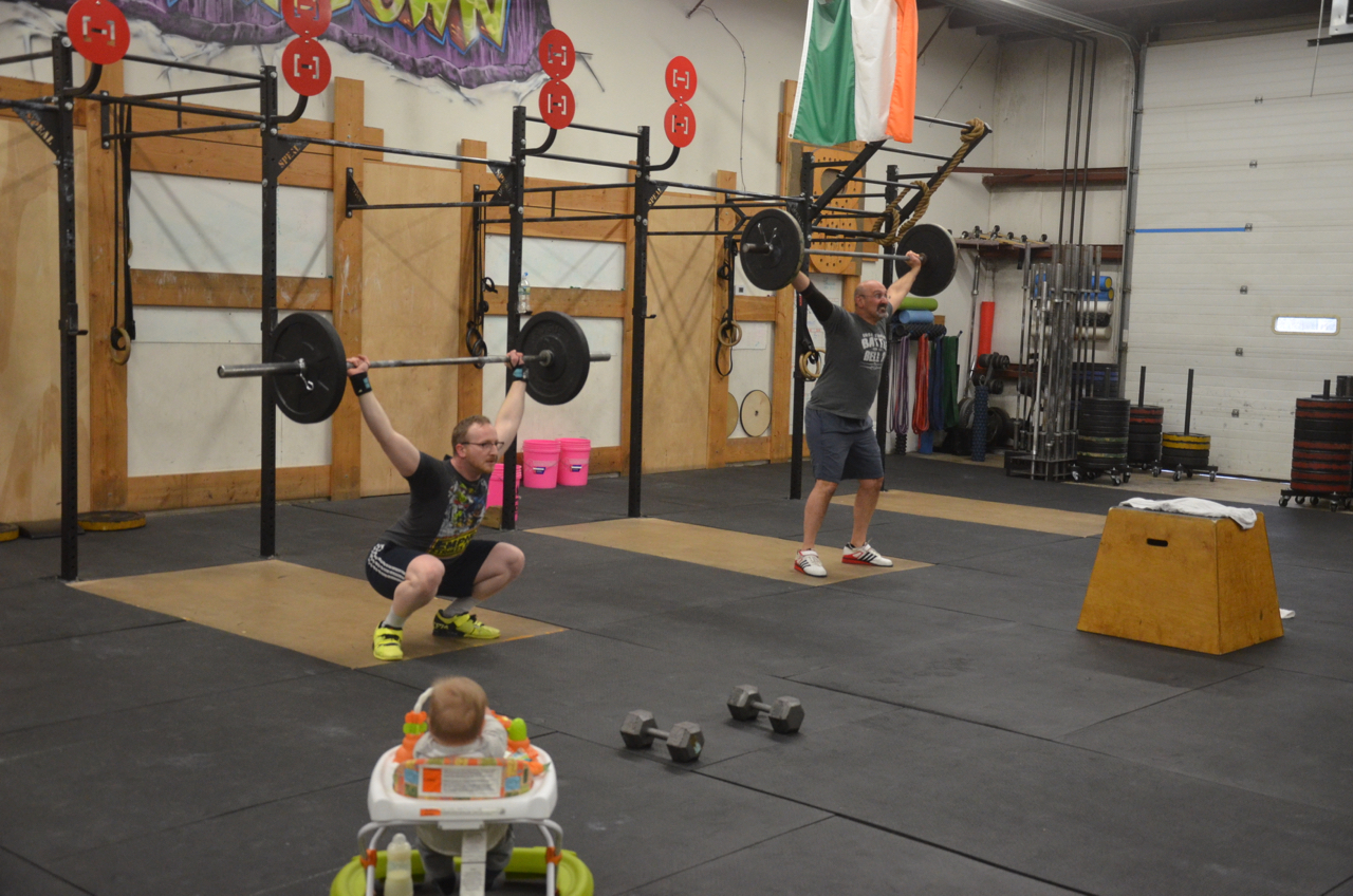 Jay and Doc working through their overhead squats under the watchful eye of Mr. Finn