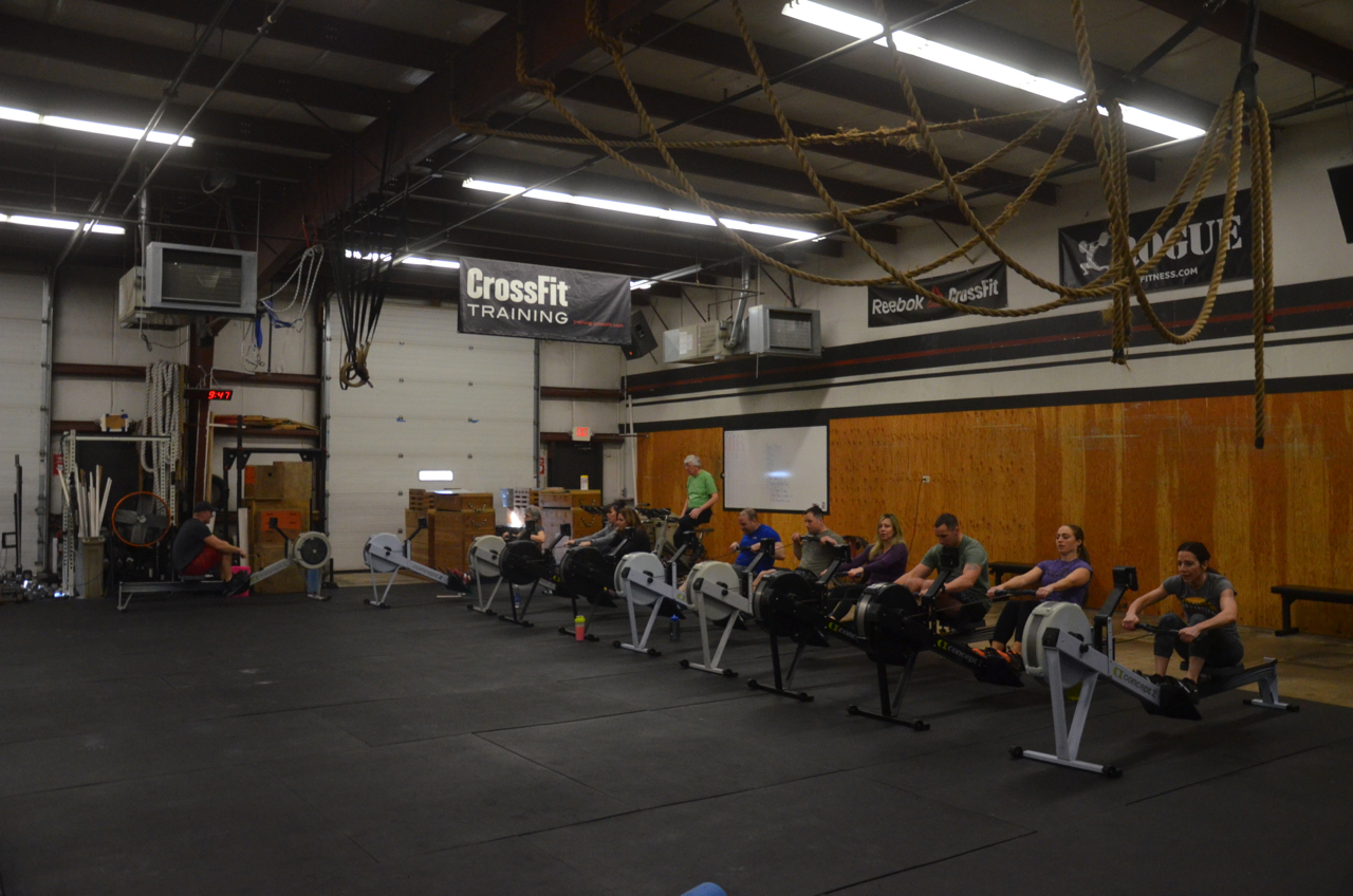The 9:30 class starting their row time trials.