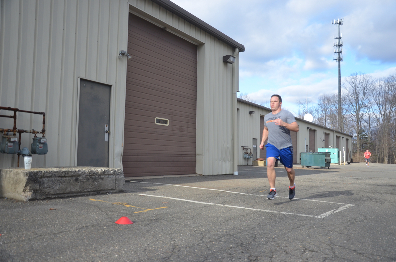 Seth finishing strong on his 400m run.
