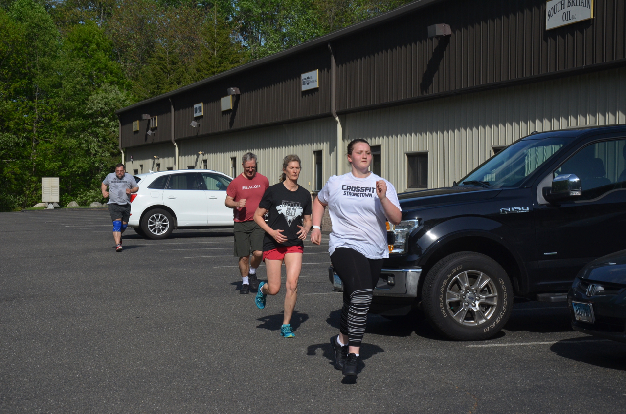 Abby, Hope, Dave, and Joe finishing up Friday's 200m run.