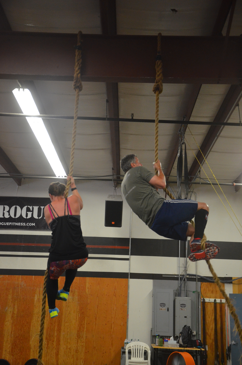 Bill & Laura making their way up their ten rope climbs.