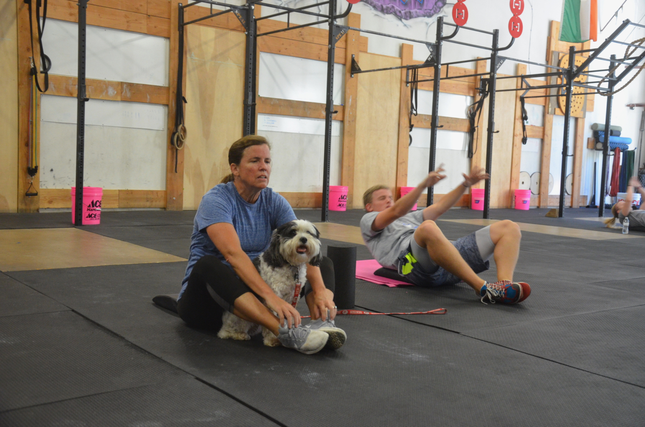 Suzy, Foxy, and Jon finishing up their final sit-up time trial.