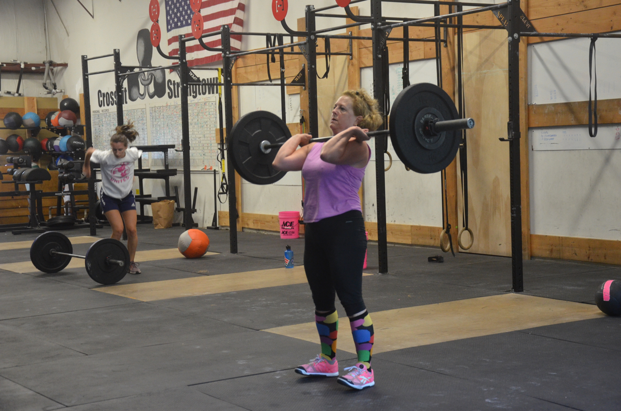 Bonnie showing good form on her cleans and staying back on her heels.