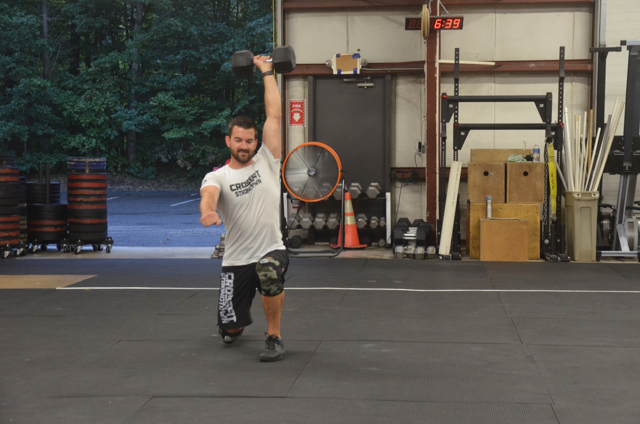 Rob L. making sure he gets his back knee down during lunges.