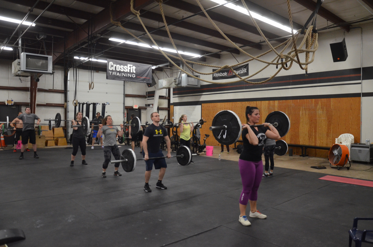 Rachie and the 6pm class at the start of the Metcon.