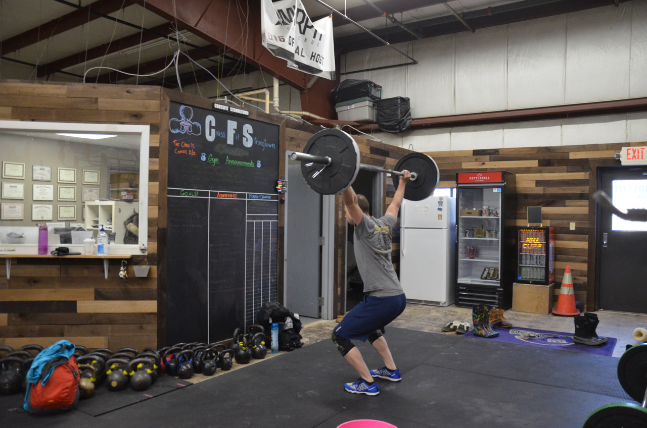 Dan showing a great catch position for the power snatch.