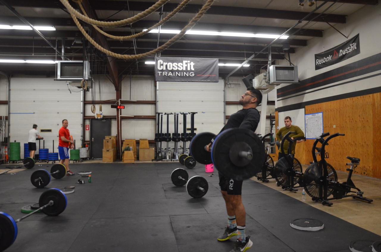 Brad showing a great extension during his hang squat snatch.