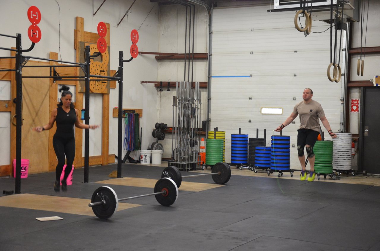 Tammy and Rob B. during today's metcon.