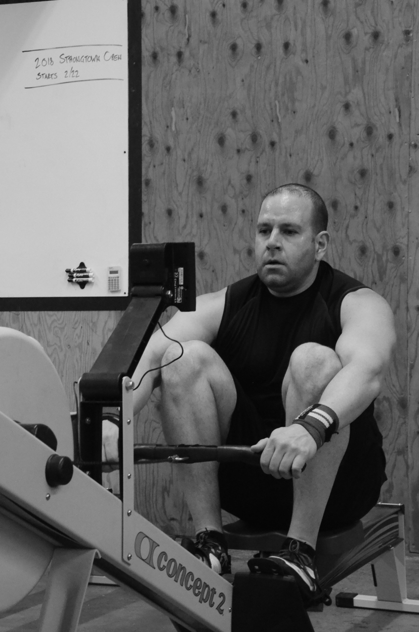 Rob during his 30 calorie row.