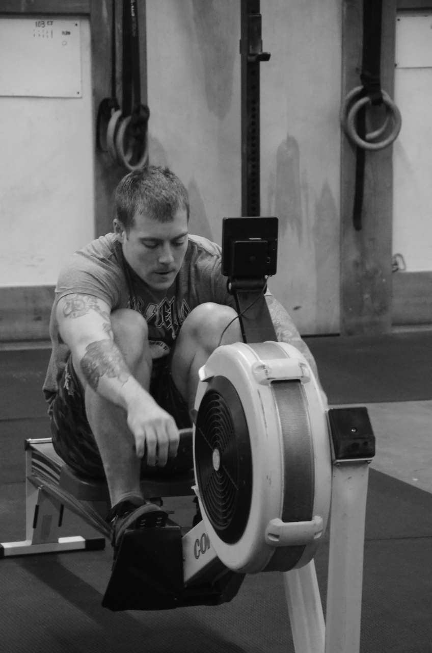 Kevin staying focused on his 2k row time trial.