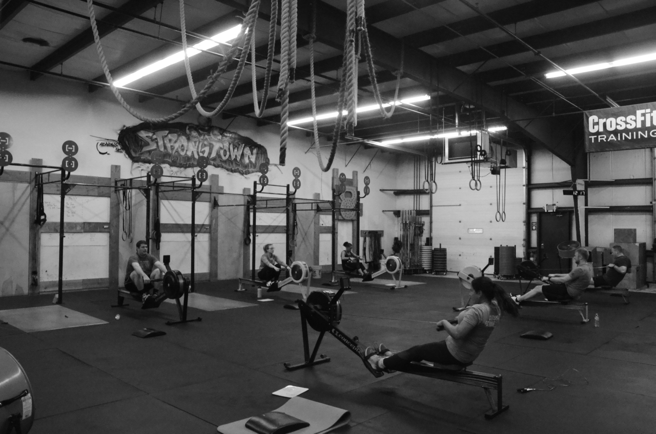 The noon class at the start of today's workout.