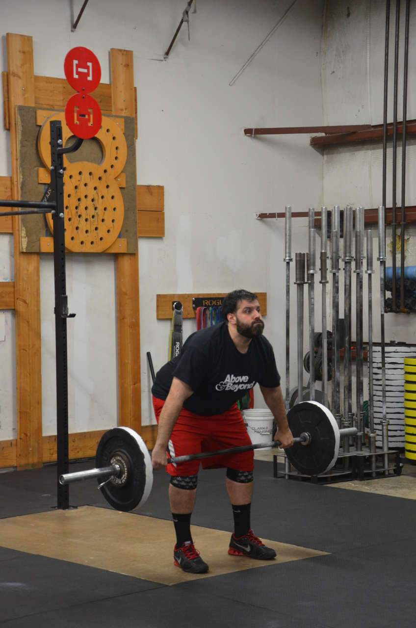 Jay making sure to keep his back tight and chest up during his Snatch work.