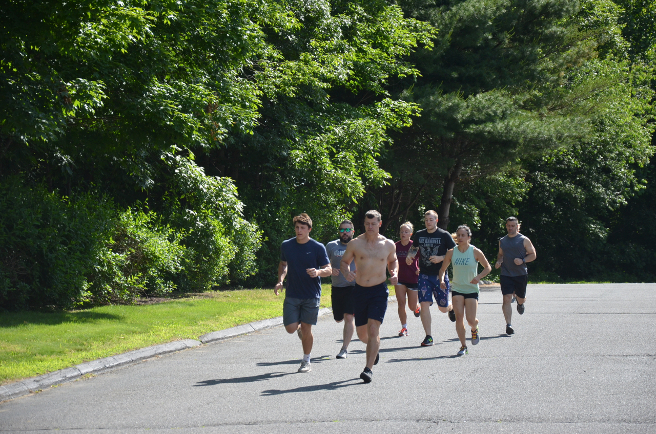 Part of Saturday's 9am class started with the mile and a half run.