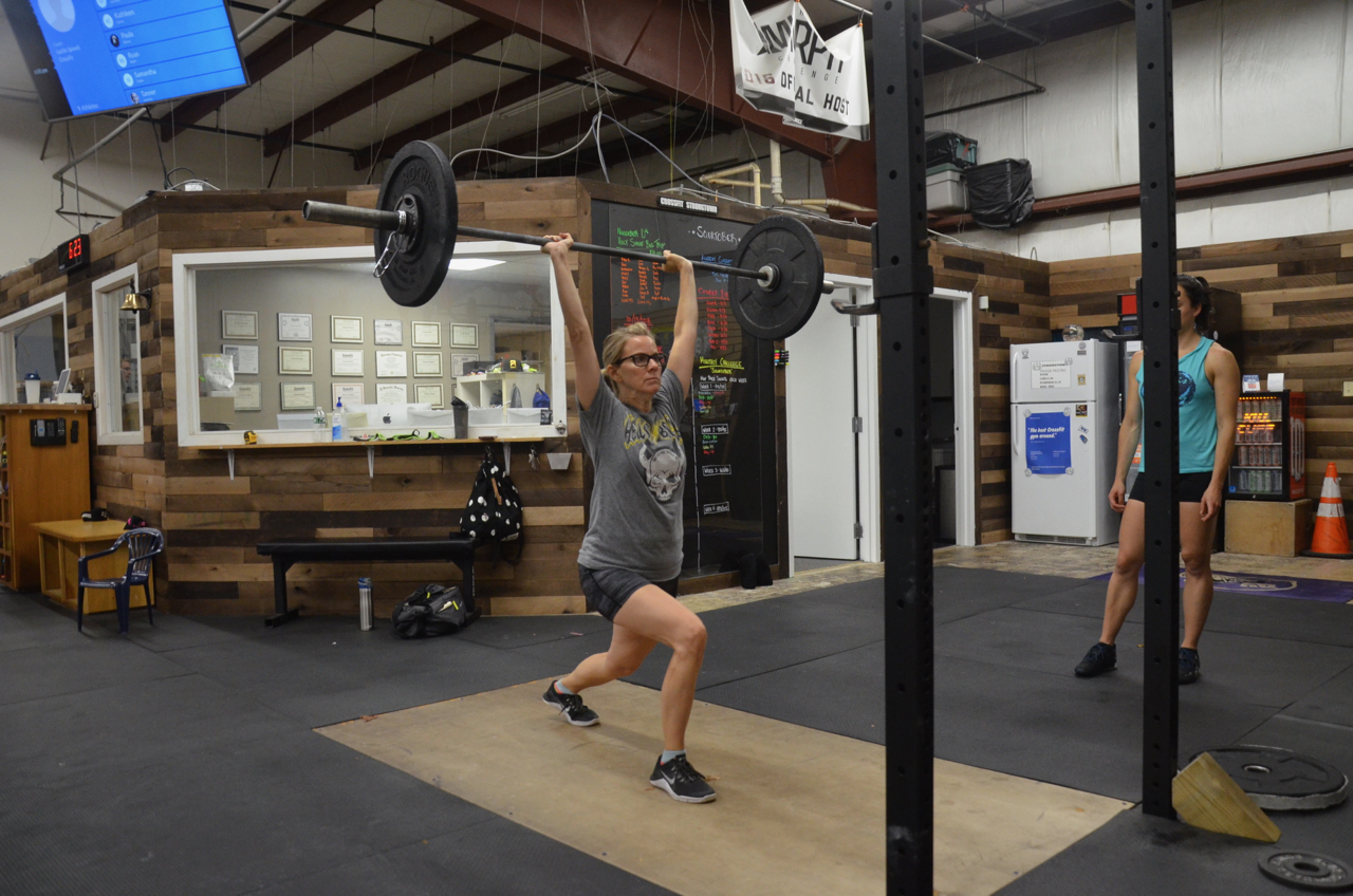 Paula working up to a new 2 rep Max Split Jerk!