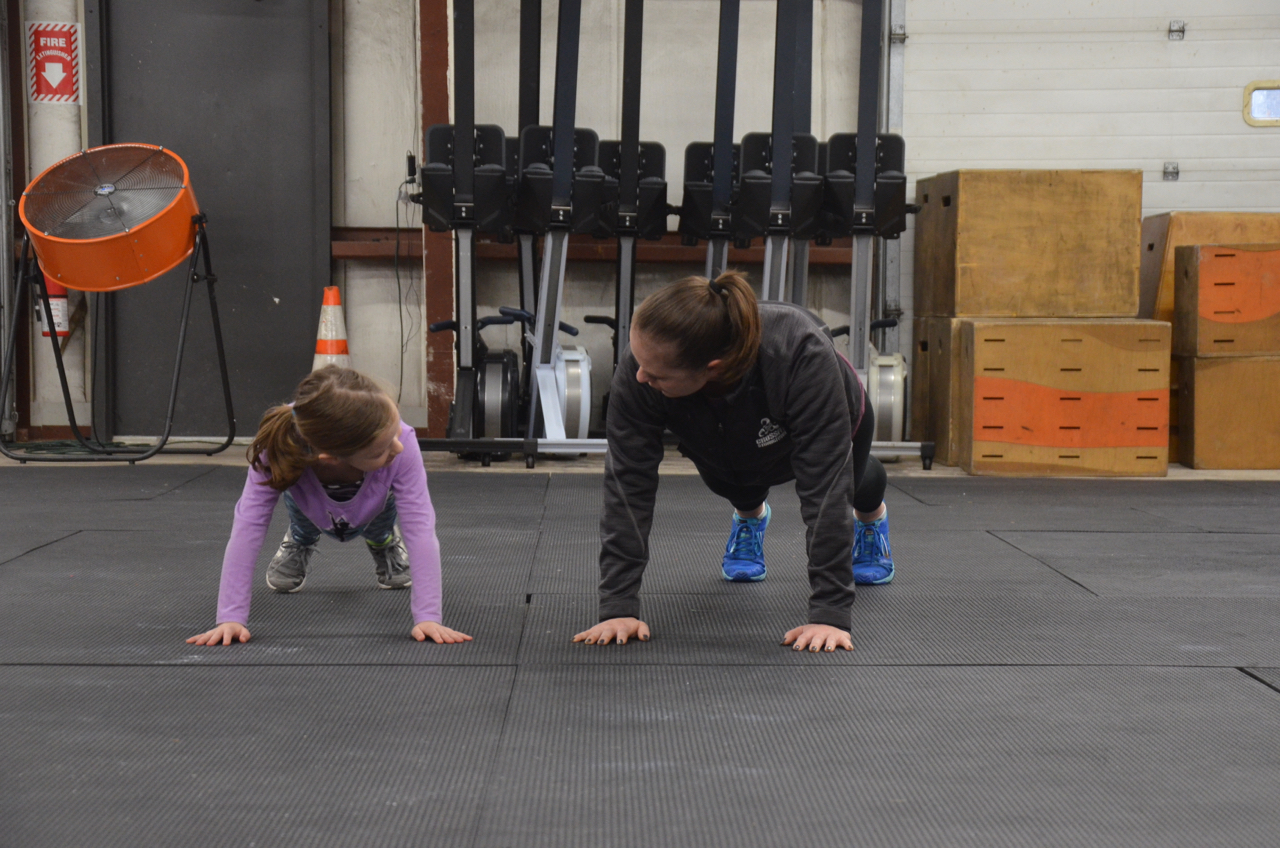 Kaitlyn and Courtney during the Strongtown FitFam class.