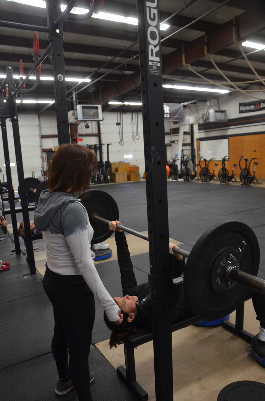 Shannon spotting Susie on Friday's bench press.